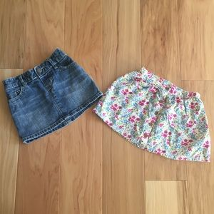 2 skirts. A jean and floral